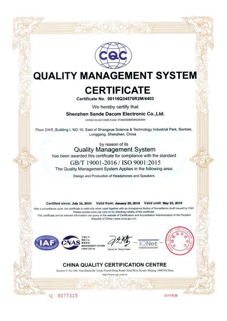 Dacom Iqua certifikát